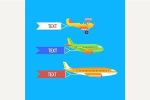 Aeroplane, planes and biplane.
