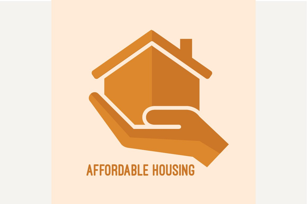 Affordable housing icon graphics creative market for Affordable house for you