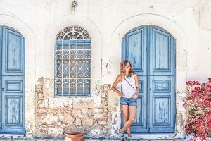 Woman at typical greek town