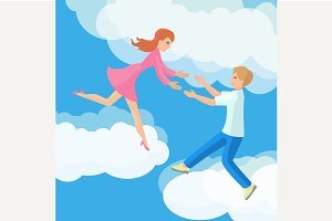 Affection Young couple on clouds