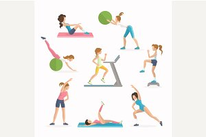 Aerobics fitness exercises.