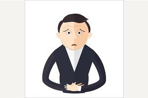 Man having an abdominal pain