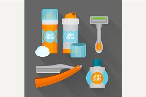 After shave flat icon set.