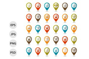Set of smiley icons, mapping pins