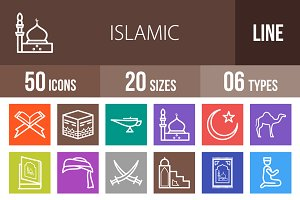 50 Islamic Line Multicolor Icons