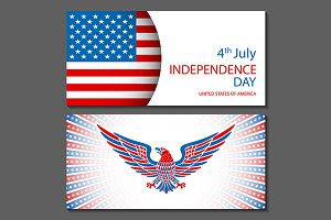 Banners of 4th July USA vector