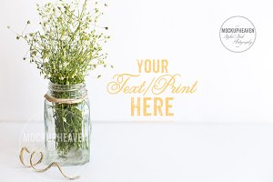 Rustic Mason Jar Stock Photo Mockup