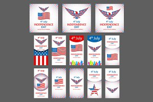 4th July Independence day vector set