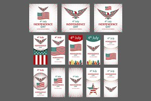4th July Independence day set vector