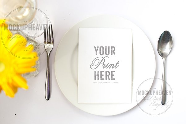 Yellow Wedding Menu Card Mockup