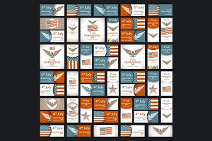 Set of Independence day USA vector