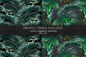 Pineapples, palm leaves patterns