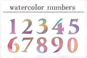 Watercolor Numbers Clip Art