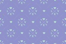 Pattern with Love, arrow & heart