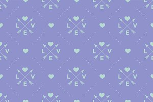 Pattern with Love, arrow & heart