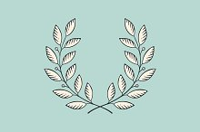 Laurel wreath icon. Engraving styl