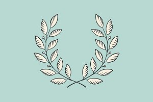 Laurel wreath icon. Engraving styl