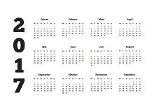 2017 year simple calendar on german