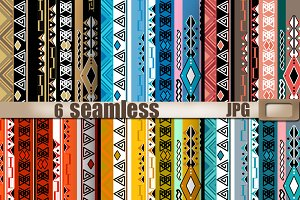 Ethno seamless tribal patterns set