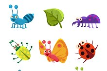 Cute Insects and Leaves