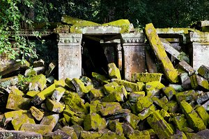 Ancient Temple Moss Covered Ruins