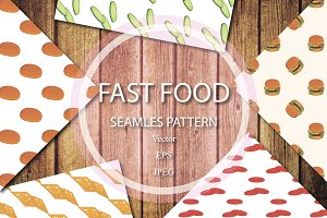 Food seamless pattern vector set