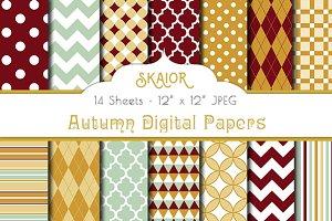 Autumn Geometric Digital Papers