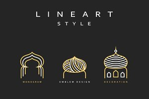 Arabic Buildings line art