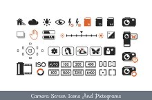Camera screen icons and pictograms