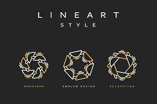 Set of elegant line art