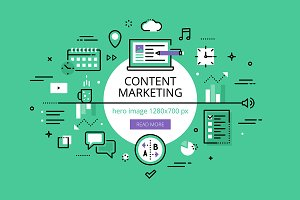 Content Marketing. Flat line banners