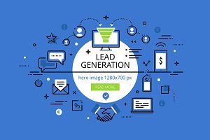 Lead Generation. Flat line banners