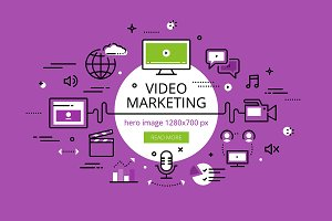 Video Marketing. Flat line banners