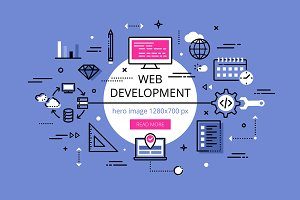 Web Development. Flat line banners