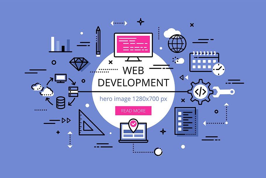 Web Development Flat Line Banners Pre Designed Illustrator Graphics Creative Market