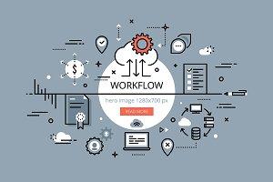 Workflow. Flat line banner set