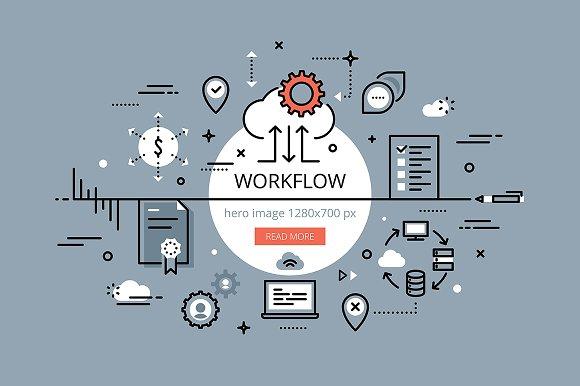 workflow flat line banner set web elements creative market