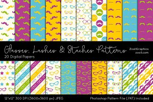 Glasses Lashes Staches Digital Paper