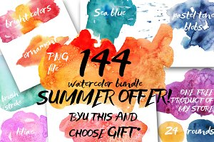 144 watercolor spots!BIG BUNDLE!