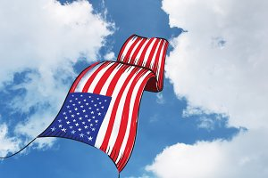 American Flag Fly into Blue Sky