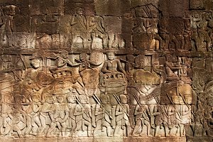 Bayon Temple Carvings in Cambodia