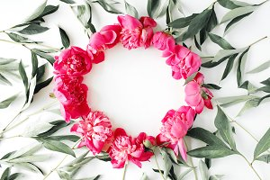 Floral wreath frame with peonies