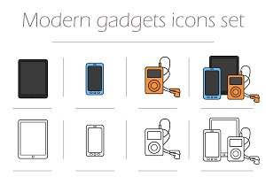 Gadgets. 12 icons. Vector