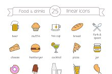 Food and drinks. 25 icons. Vector