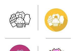 Confectionery. 4 icons. Vector