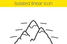 Mountains linear icon. Vector
