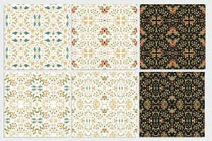 Set of 6 seamless flourish patterns