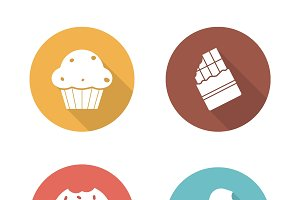 Sweets. 4 icons. Vector