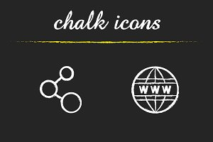 Network. 4 chalk icons. Vector
