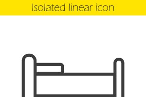 Bed linear icon. Vector